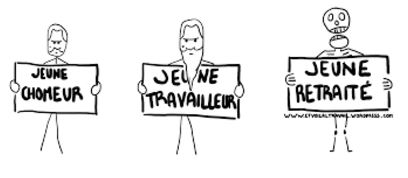 Caricature représentant un chômeur, un travailleur et un retraité